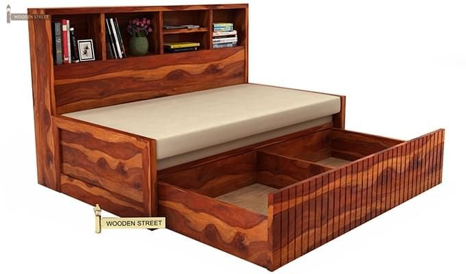 Savannah Sofa Cum Bed With Storage (Honey Finish)-5
