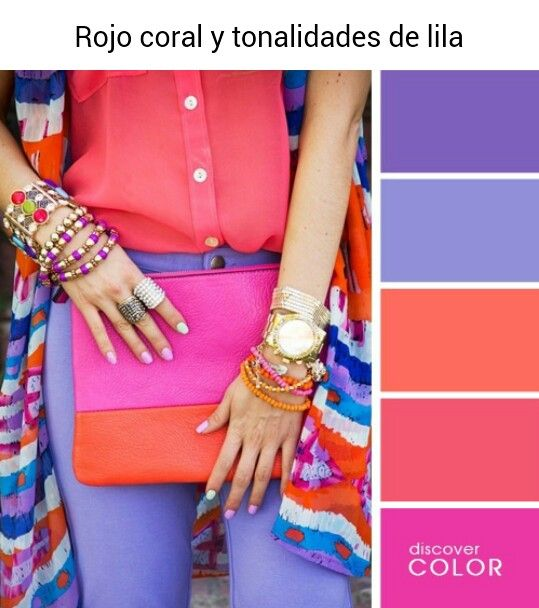 Rojo coral y tonalidades de lila