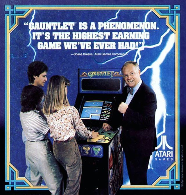 WEBSTA @favoritevideogamessince71 Gauntlet is a fantasy-themed hack and slash 1985 arcade game by Atari Games. Released in October 1985, Atari ultimately sold a total of 7,848 Gauntlet video game arcade cabinets. It is noted as being one of the first multi-player dungeon crawl arcade games. #videogameshacks