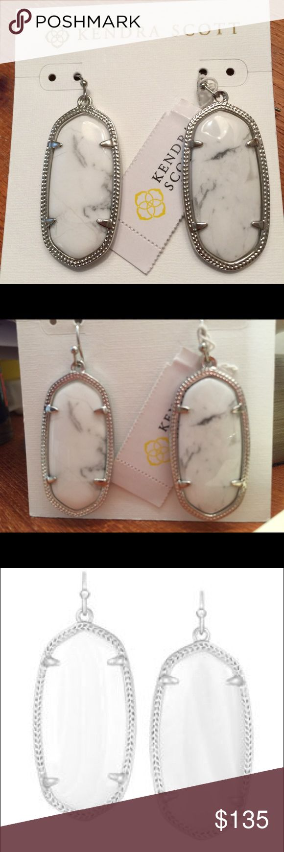 NWT Kendra Scott Howlite Earrings Elle Super RARE! These are brand new with tags and impossible to find! Kendra Scott Elle earrings are the most popular size and can comfortably be worn all day long! The Howlite stone is the hardest to locate and these are especially beautiful! Set in rhodium (silver) and are perfectly pristine as they've never been worn😊 I also have the Alex in Howlite listed. Kendra Scott Jewelry Earrings