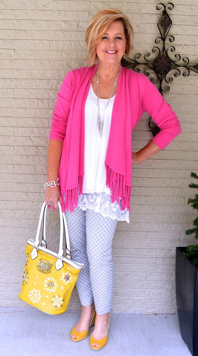 50 Is Not Old   Pink and Yellow   Spring Outfit   Fashion over 40 for the everyday woman