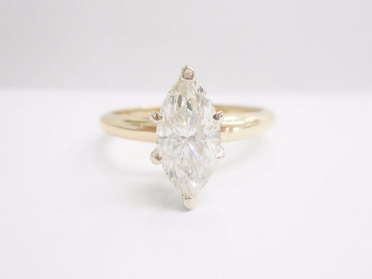 Diamond Ring, Marquise Diamond Ring, Solitaire Ring, 14k Yellow Gold 1.22 Carat Marquise Diamond Solitaire Engagement Ring #2551 by MMJewelersKnoxville on Etsy https://www.etsy.com/listing/495315908/diamond-ring-marquise-diamond-ring
