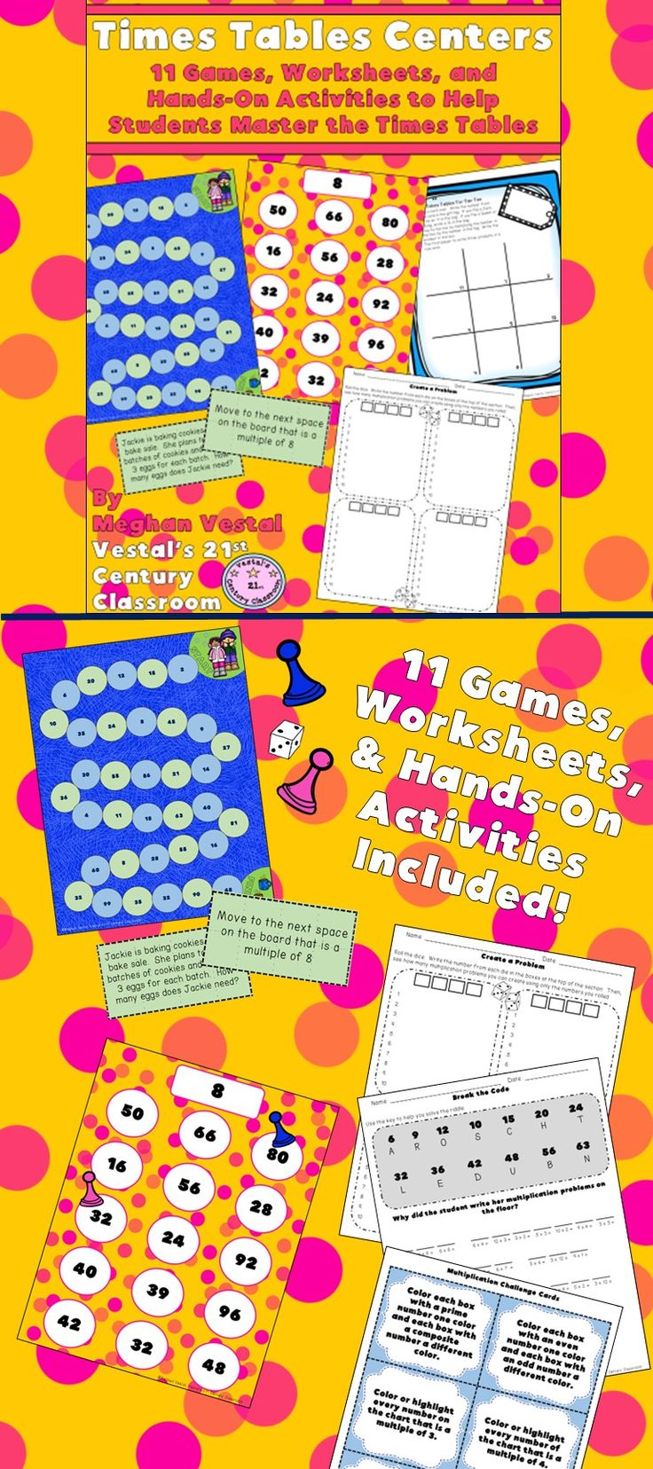 Times Tables Centers will help students master their times tables as they play these games and activities at centers throughout the year. 11 Activities are included and most activities provide options for differentiation so that they can be used multiple ways and for different skill levels. Centers are easy to put together and provide answer keys as needed. Games and activities cover the 2 through 12 times tables.