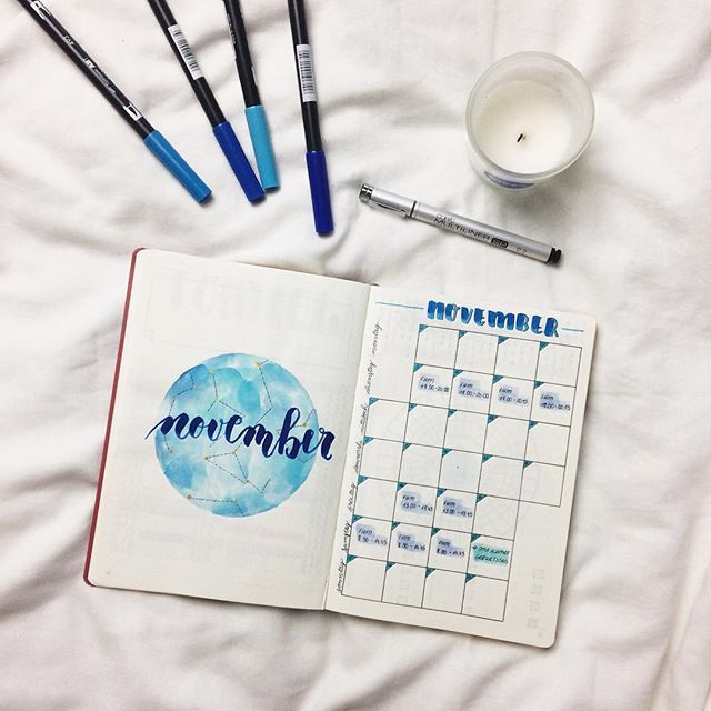 "Hey everyone  There are only two weeks left in October  so it's time for a new monthly ✨⭐️. It's the first monthly in my new journal  I choose a dark blue ""star-theme""  This week I will take some new picture to show you how I use my tombows as watercolours  what theme do you choose? Let me know in the comments below ⬇️ • • • • • • • • • • • • • • • • • #bulletjournal #bulletjournaling #stationery #love #stationeryaddict #stationerylove #flatlay #calendar #planner #plannernerd #pla..."