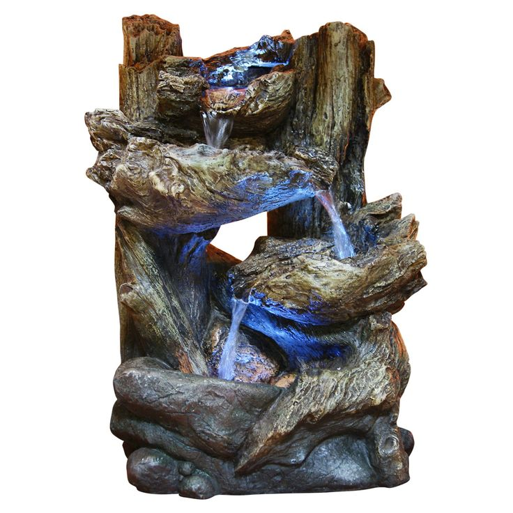 Tall Alpine Tiered Log Fountain Garden And Pond Depot Tabletop Water  Fountains