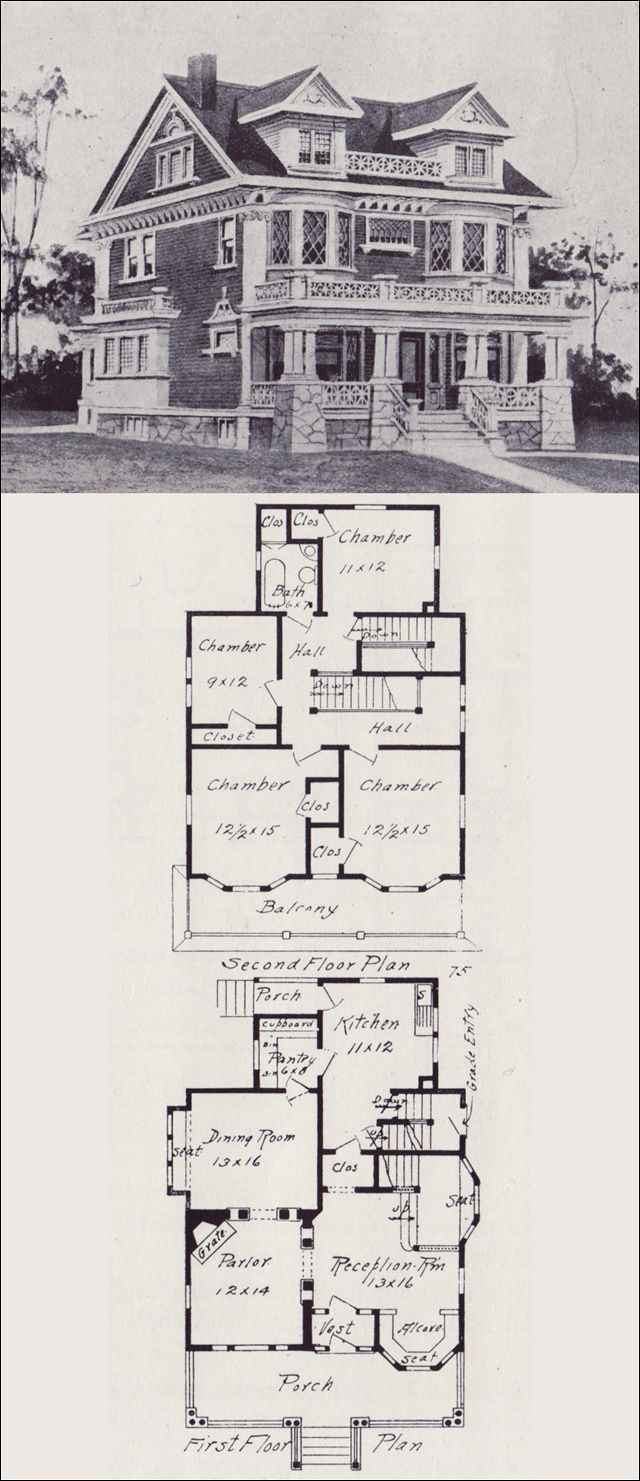 156 best house plans images on pinterest house floor plans classical revival house plan seattle vintage houses 1908 western home builder design no 75 v voorhees this would make a great sims house