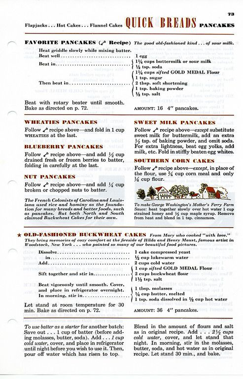 Vintage Pancake Recipe Betty Crocker's Picture Cook Book, 1950