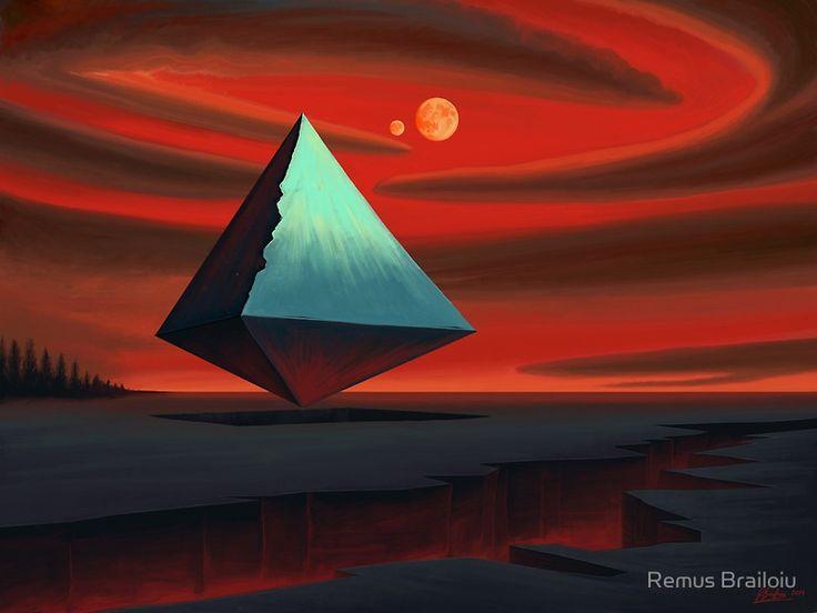 """Moon Pyramid"" Photographic Prints by Remus Brailoiu | http://www.redbubble.com/people/remuscb/works/11983804-moon-pyramid?asc=u | #surreal #surrealism #pyramid #alienplanet #scifi #sciencefiction #desert #landscape #fantasy #dreamscape #redsky #orangemoon #fullmoon #corel #corelpainter #digitalpainting"