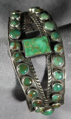 Nevada Green Turquoise Cuff by Vernon Begay | American Indian | Navajo | Jewelry