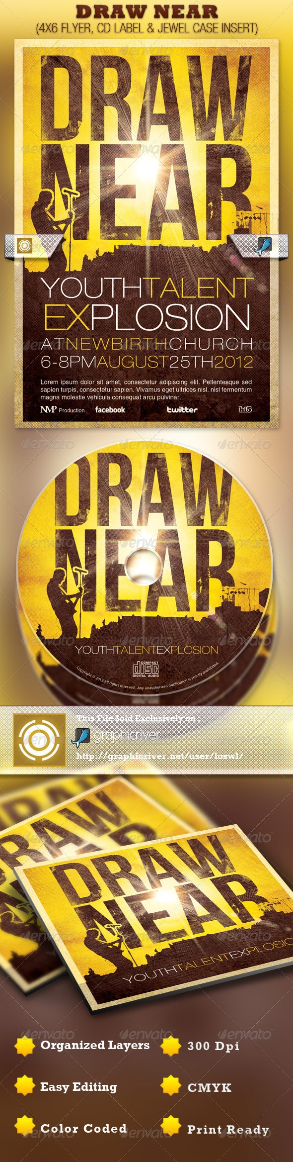 Draw Near Church Event Flyer and CD Template