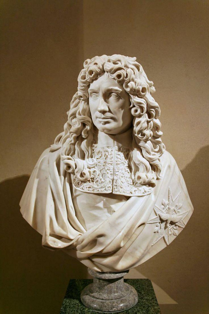Jean-Baptiste Colbert (1619-83) by Antoine Coysevox (1640-1720) Louvre Museum.Marbre, réplique du buste du ministre de Louis XIV exécuté sur l'ordre de l'Académie royale de peinture et de sculpture et donné à Colbert, alors protecteur de l'institution.