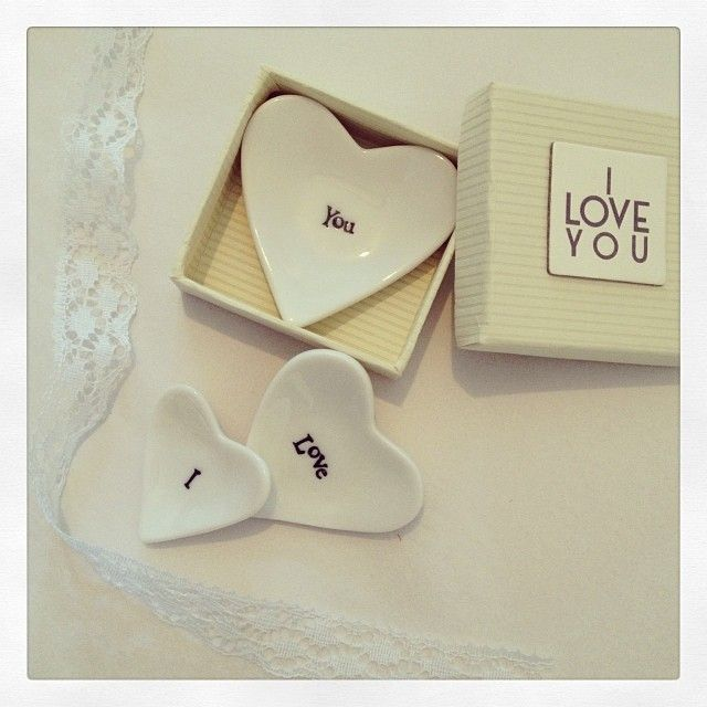 Beautiful tiny porcelain dishes by East Of India Set of 3 porcelain dishes saying I Love You They come in a cream card presentation box that also