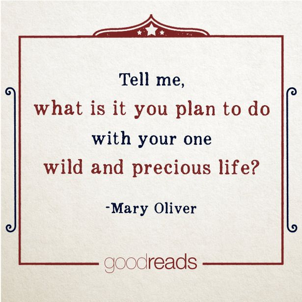 Tell me, what is it you plan to do with your one wild and precious life?--Mary Oliver