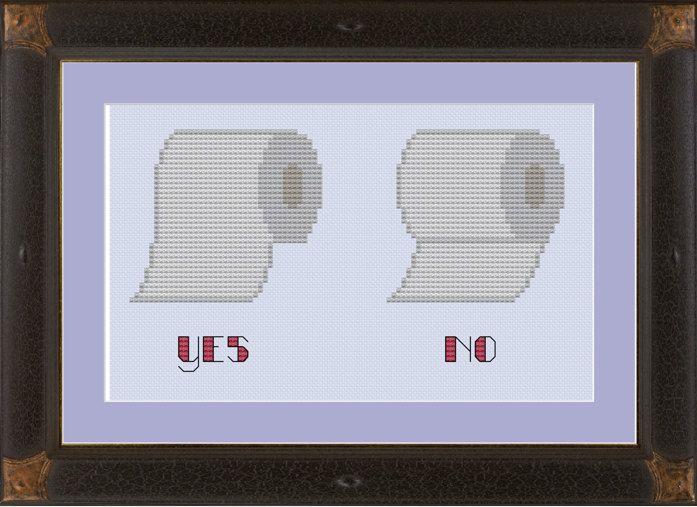 Toilet paper hanging protocol: funny cross-stitch pattern. $3.00, via Etsy.