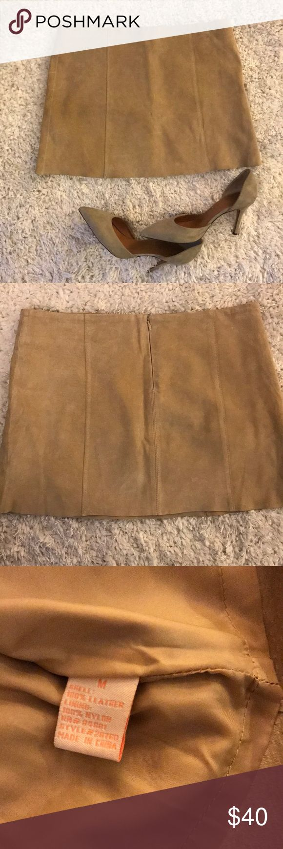 """Forever 21 Suede Mini Skirt Forever 21 100% leather suede mini skirt size Medium. Worn twice. Has a small pen mark as seen in picture. 13"""" length 15"""" waist Forever 21 Skirts Mini"""