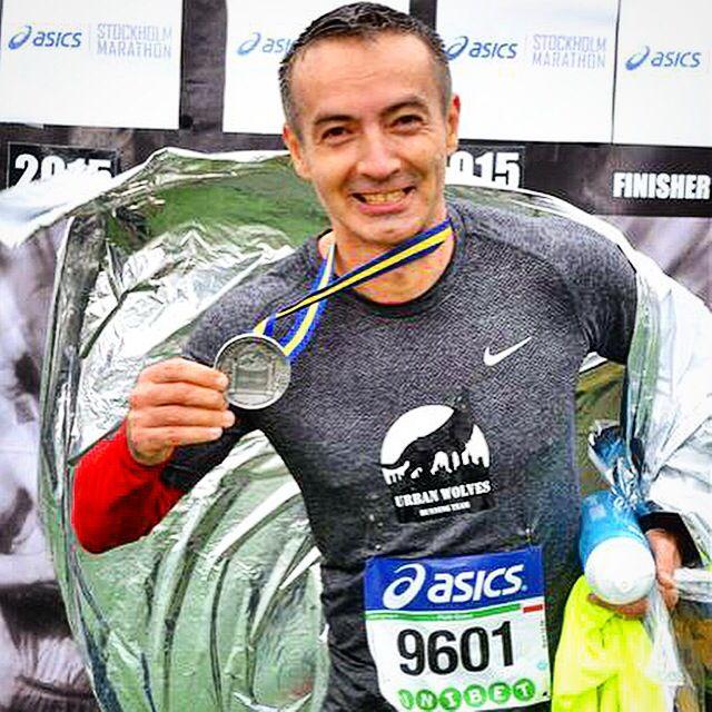 Piotr Golos. Finisher of Asics Stockholm Marathon. Result 3:55:02