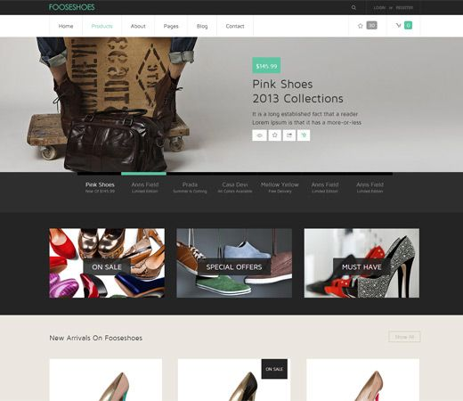 FooseShoes Free #Responsive #HTML5 #CSS3 #Mobileweb Template