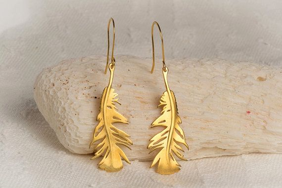 Gold Feather Earrings Feather Dangle Earrings by TheSilverWhale