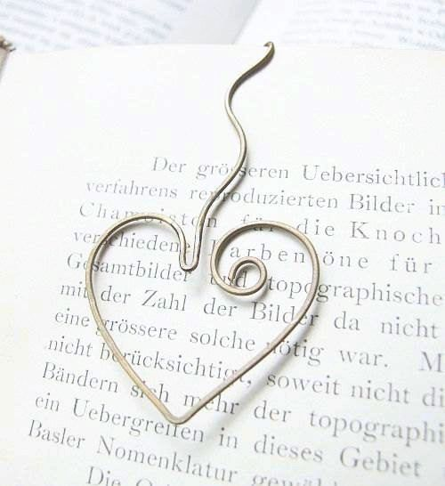 signet belle coeur - signet coeur adorable en métal laiton