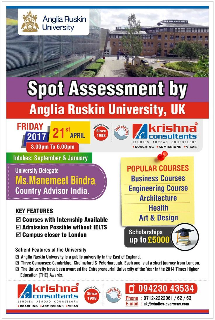 Spot Assessment by Anglia Ruskin University, #UK @ Krishna Consultants #Nagpur. Date: 21 Apr 2017 Time: 3 pm to 5 pm https://goo.gl/1T8Los