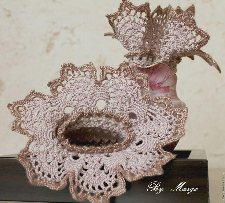 Купить Манжеты вязаные. Бохо ручной работы с кружевом Лавандово розовый - манжеты вязаные