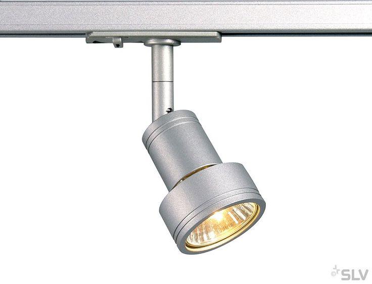 SLV PURI Lampenkopf für 1-Phasen Stromschiene, silbergrau
