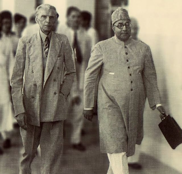 founder of pakistan quaid e azam muhammad ali jinnah with nawab liaquat ali khan