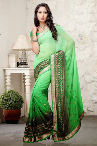 #Green #shaded #Saree with Blouse