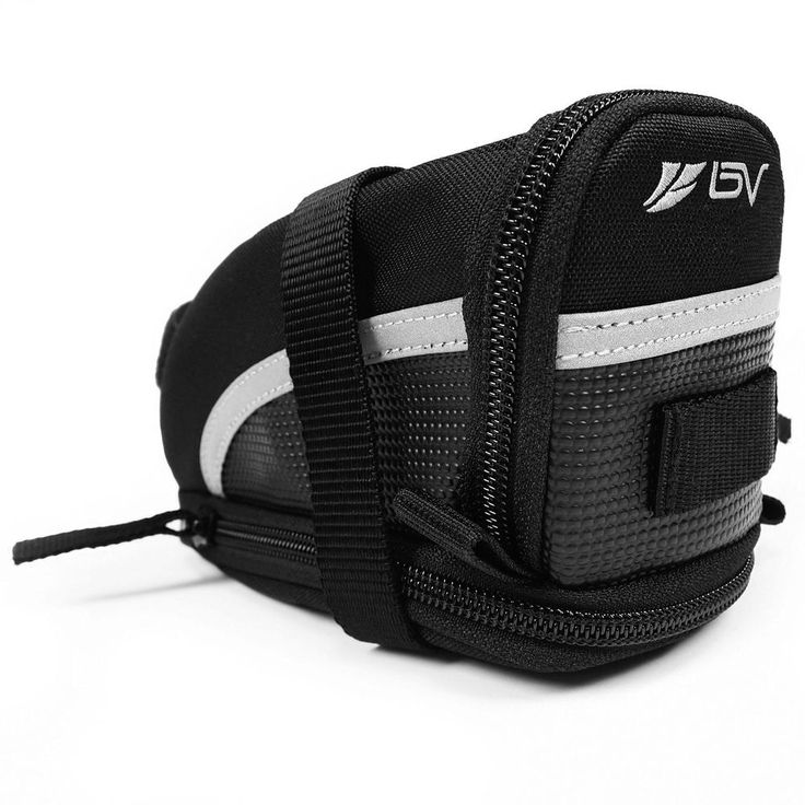 Strap-on Saddle bag with 3M  reflective trimming, enhancing visibility and safety in low light and at night. Velcro straps quickly attach to the seat and seat post. Perfect for wallets, keys, tools, tire levers, patch kits and other small items. Medium and Large saddle bags are expandable for added capacity. Taillight hangers for additional safety lights and attaching larger tools (ex. pumps). Size: Small. Dimensions: 6 in x 3.5 in x 3 in. Capacity: 0.4 L. Weight: 3 oz. Medium - Expandable…