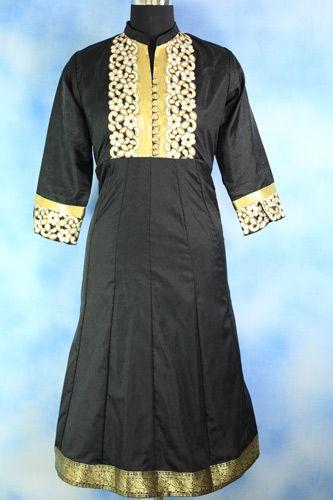 Black Silk Cut Work Anarkali, Formal wear, Silk long anarkali, Cutwork on neckline and sleeves, Dry clean only.