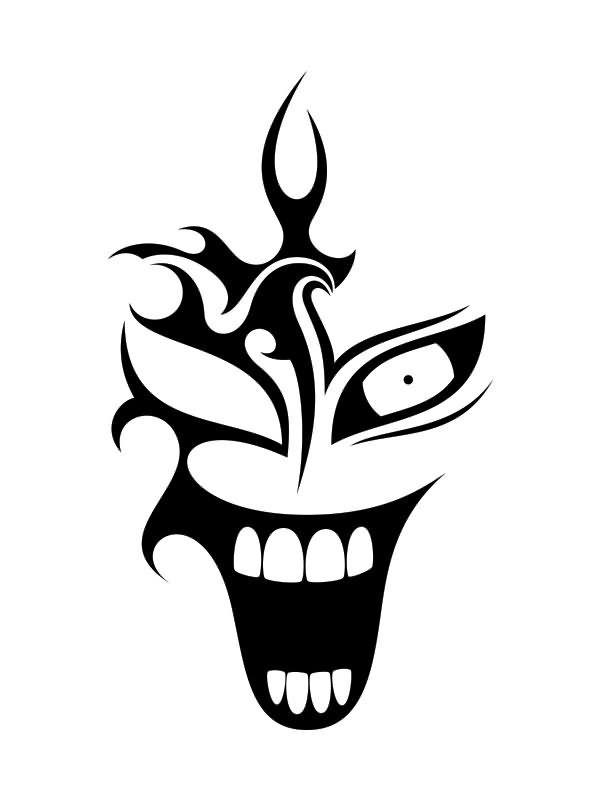 Black Tribal Clown Tattoo Design Clown Tattoo Designs