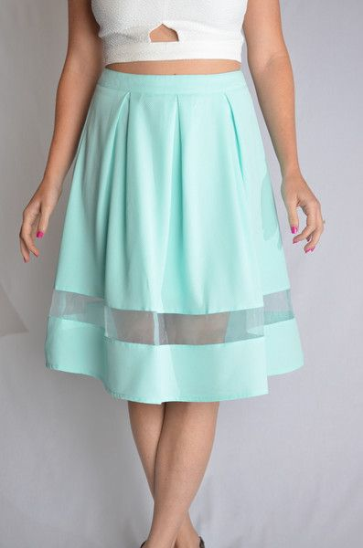 Cut It Out Skirt - Mint Sweet and sophisticated high waist midi skirt with a mesh cut-out detail and exposed zipper on the back. #iAmAdorned