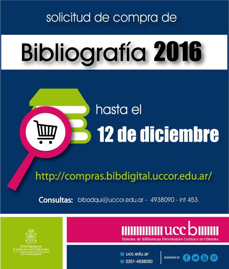 #DOCENTES:, #CompraBibliográfica2015, pedido de compra; http://www.ucc.edu.ar/biblioteca/biblioteca_ucc.php?sec=1&pag=750. #Biblioteca #UCC
