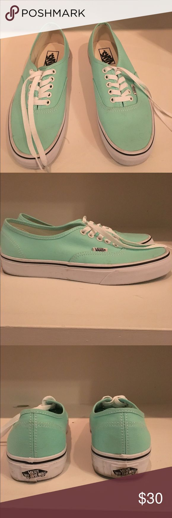Mint green vans Super cute mint green vans. Got them for Christmas but I already had similar shoes. Very comfy and go with everything and are in great condition! Vans Shoes Sneakers