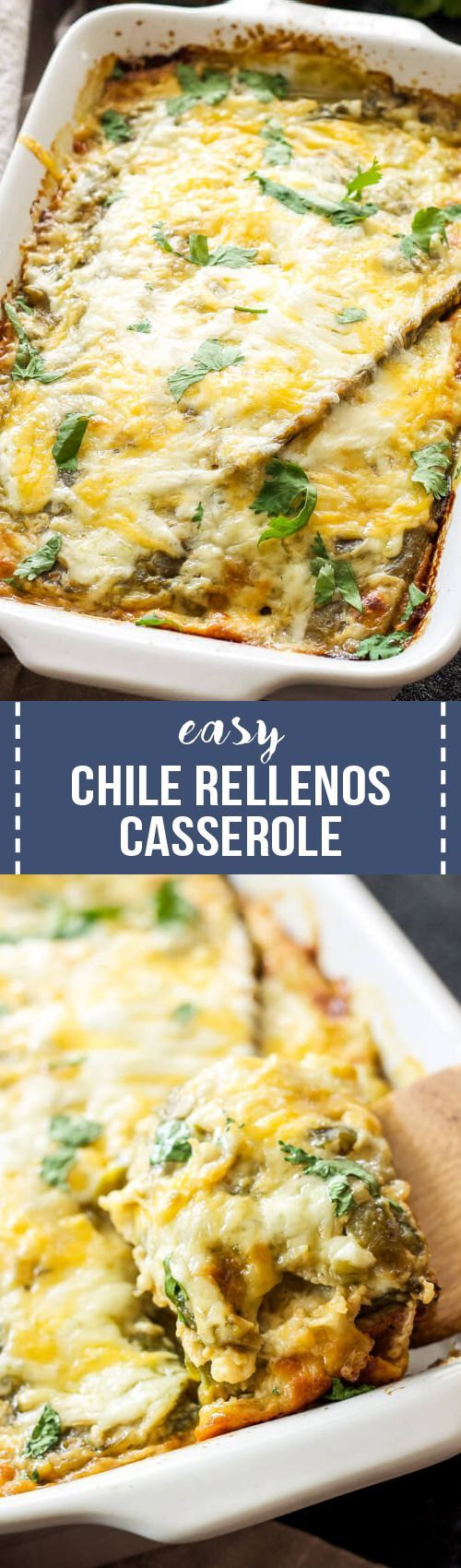 Easy Chile Rellenos Casserole is a comfort food dinner or breakfast everyone will love! This quiche-like casserole made up of layers of green chiles and cheese is a meal even the most novice cook can put together!