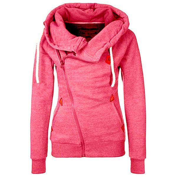 Hooded Oblique Zipper Loose Pink Sweatshirt ($19) ❤ liked on Polyvore featuring tops, hoodies, sweatshirts, pink, sweatshirt hoodies, pink hoodie sweatshirt, pink zip up hoodie, zip up sweatshirt and zipper hoodie