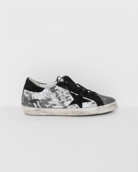 Golden Goose Sneakers Superstar in Reflective Silver and Black Star