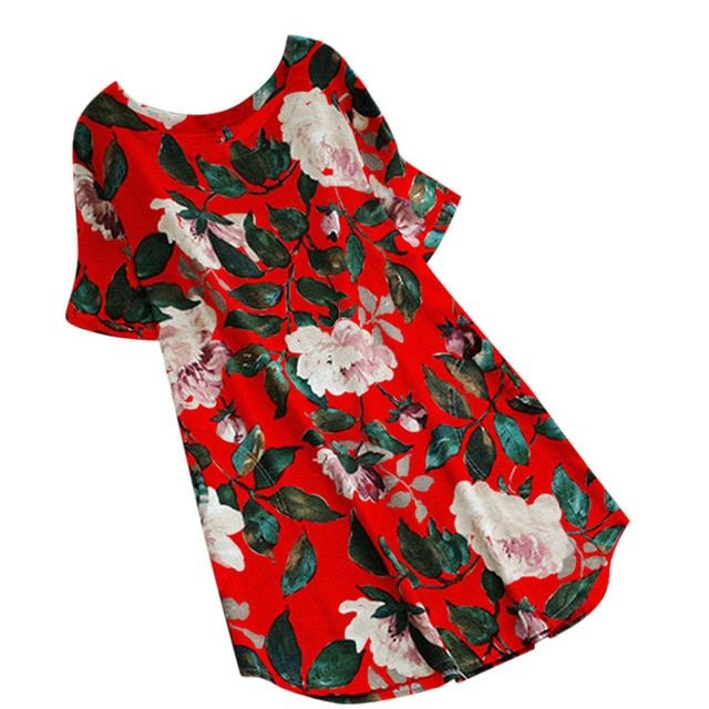 Summer women dress lady floral print  a-line dress summer o-neck short-sleeve  casual beach dress plus size 1