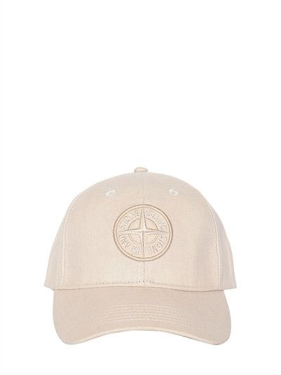 STONE ISLAND LOGO PATCH COTTON BASEBALL HAT, BEIGE. #stoneisland #hats