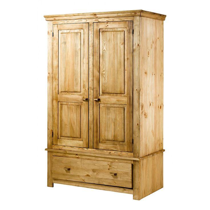 armoire en pin bross 2 portes et 1 tiroir brush grenier. Black Bedroom Furniture Sets. Home Design Ideas