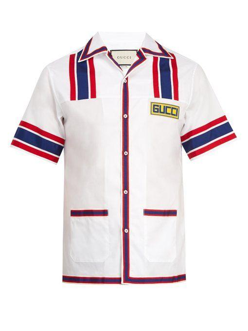 a0b934c9 GUCCI Contrast-trim cotton-poplin bowling shirt. #gucci #cloth ...