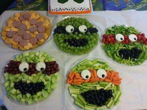Great for kids!! Teenage Mutant Ninja Turtles veggie & fruit platters!!