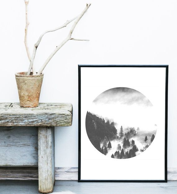 Forest Print, Printable Artwork, Wall Decor, Home Decor, Bedroom Decor, Black and White Print, Landscape Photo, Circle Photography, Wall Art