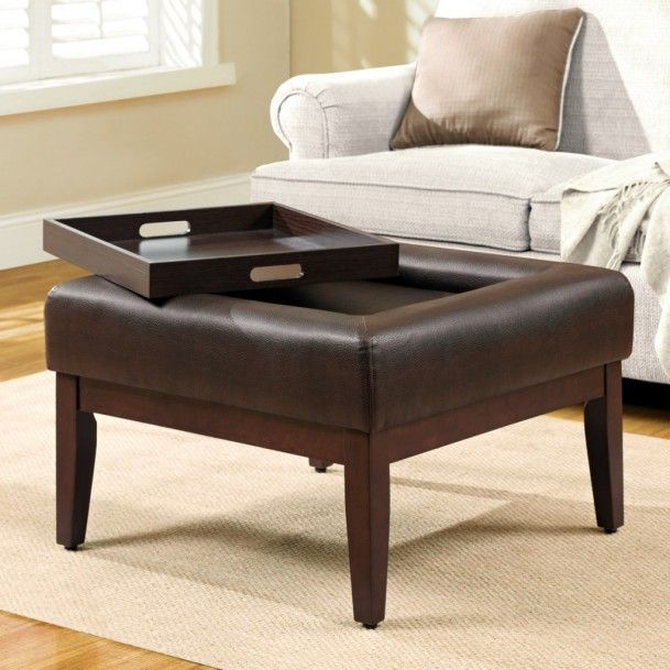 Remarkable Mahogany Wood Round Ottoman Coffee Table With Black Leather  Counter Top Also White Cotton Sofa