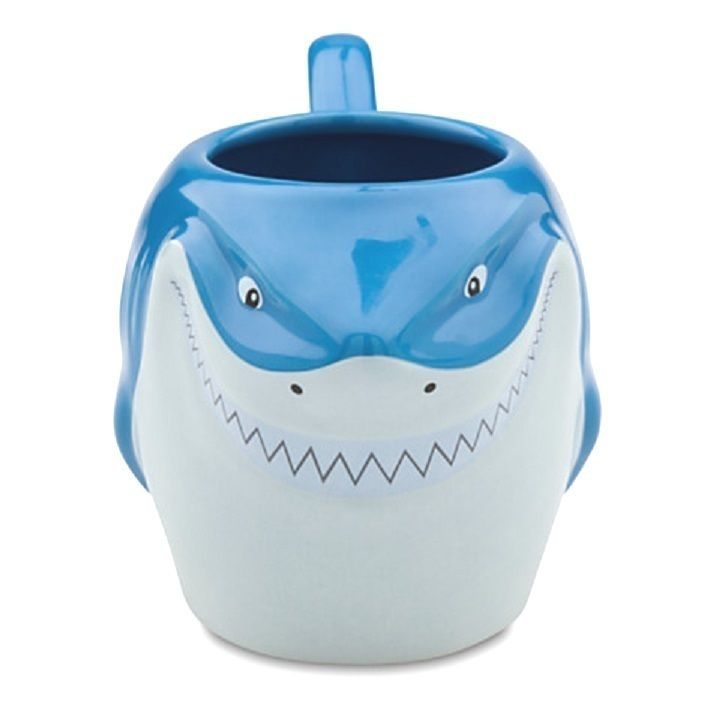 "New.  Sculptured features of Bruce the Shark from Finding Nemo.  Ceramic.  Holds 20 oz.  4"" H x 7 1/2"" W  Microwave and dishwasher safe."