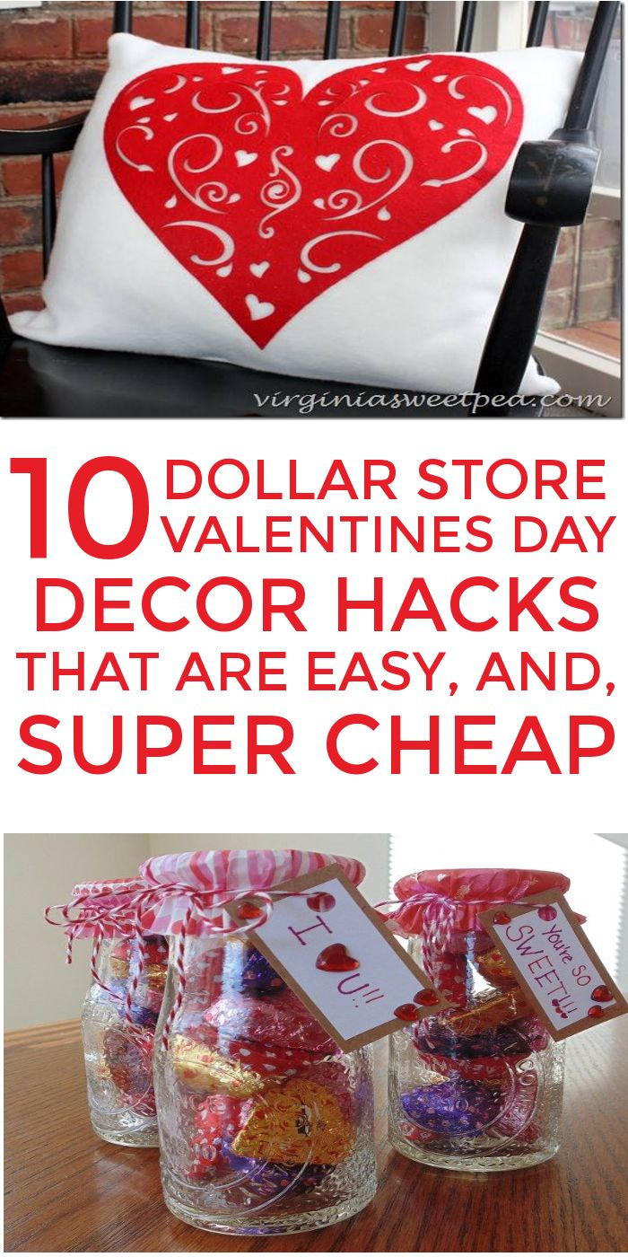 10 Dollar Store Decor Hacks are THE BEST! I'm so glad I found these AWESOME Valentines Day home decor ideas and tips! Now I have great ways to decorate my home for Valentines Day on a budget! Definitely pinning! #valentinesday #valentinesdaydecor
