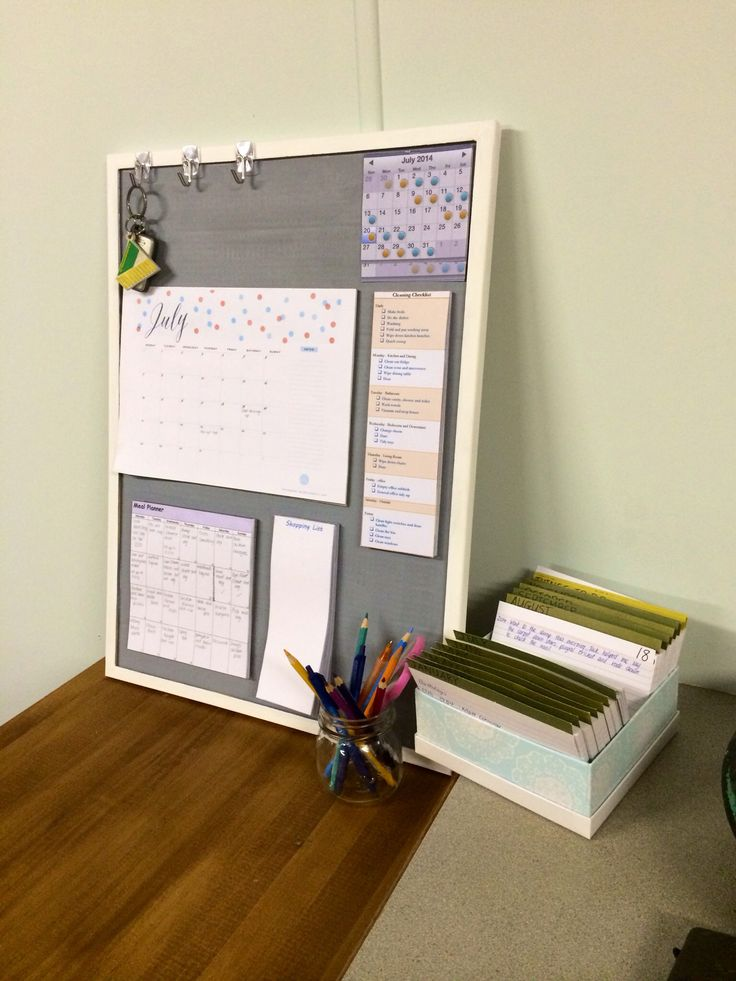 Family organiser. Calendar, hubby's roster, menu planner, shopping list, cleaning checklist, key hooks, pens/pencils etc and my ongoing event calendar from previous pic on this board. Let's hope this helps!