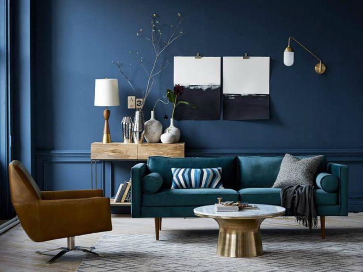 Marine-Blau Inspirationen für den Frühling | Blau und golden Möbel | Golden Kaffeetisch | Blau samt sofa | wohn-designtrend.de/