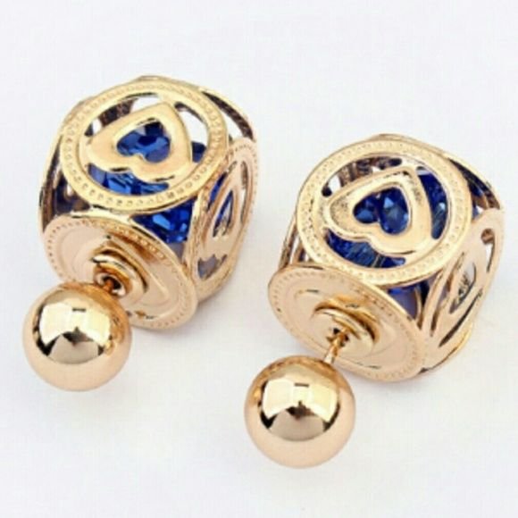Blue Stone Double Sided Stud Earrings Blue Stone Double Sided Stud Earrings Stock - 7  ❌ PLEASE DO NOT PURCHASE LISTING. LEAVE A COMMENT AND A SEPARATE LISTING WILL BE CREATED ❌ Jewelry Earrings