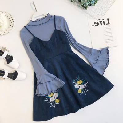 Embroidered flower cake trumpet sleeve two-piece strap dress YV2384 - Youvimi